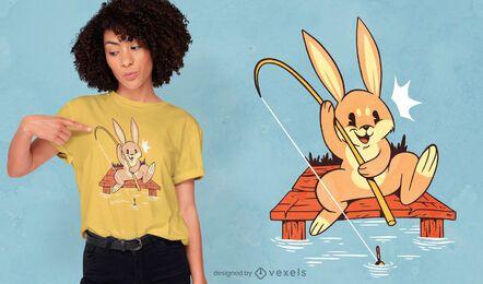Design de t-shirt de coelho de pesca