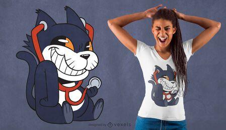 Diseño de camiseta de gato estetoscopio