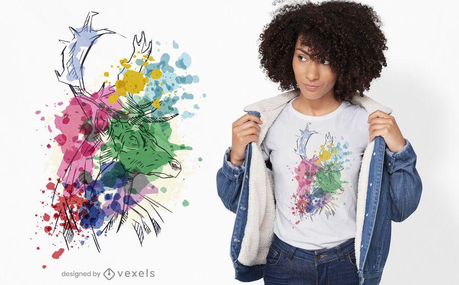 Hirsch Aquarell T-Shirt Design