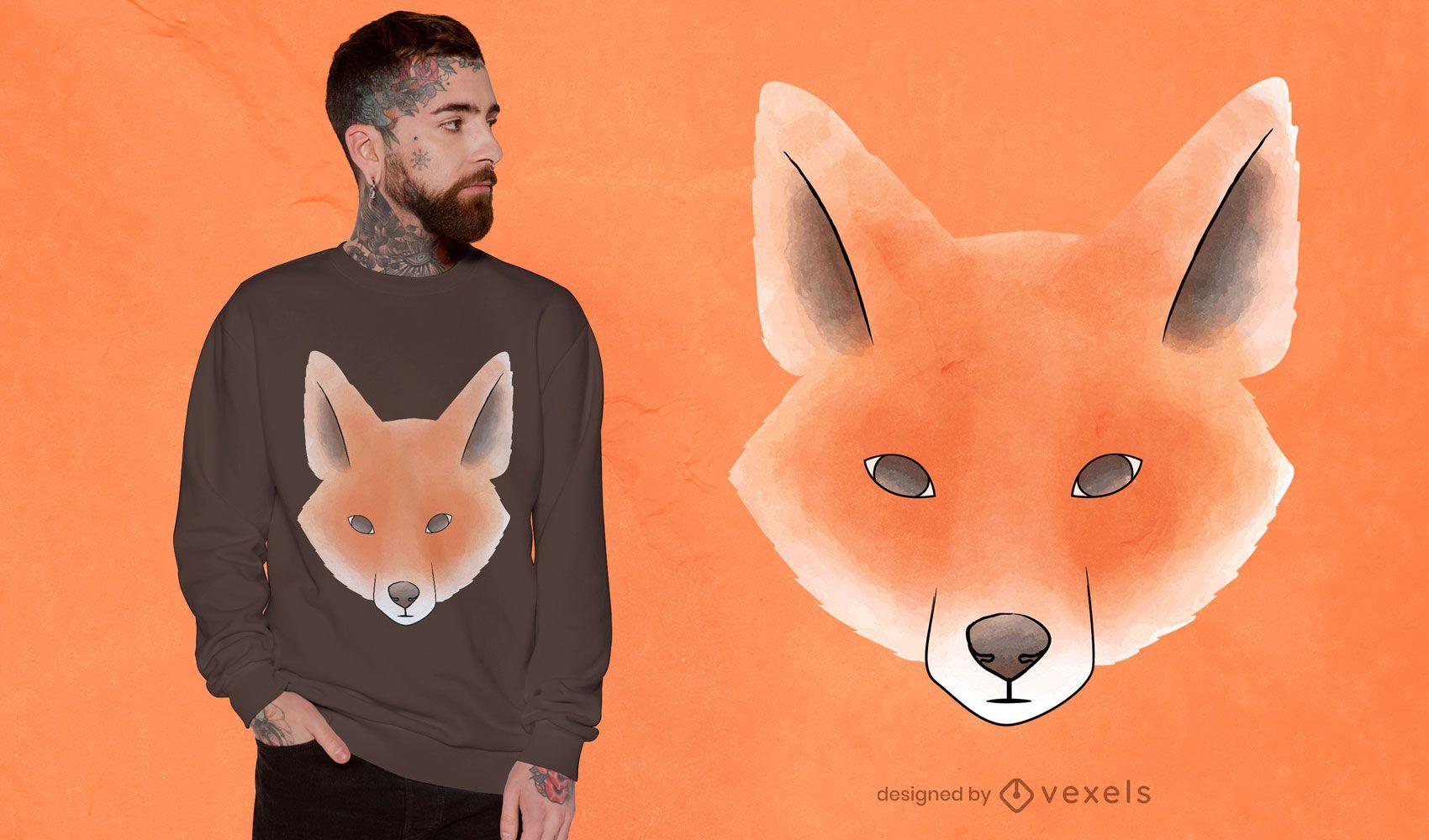 Desenho de t-shirt de raposa em aquarela
