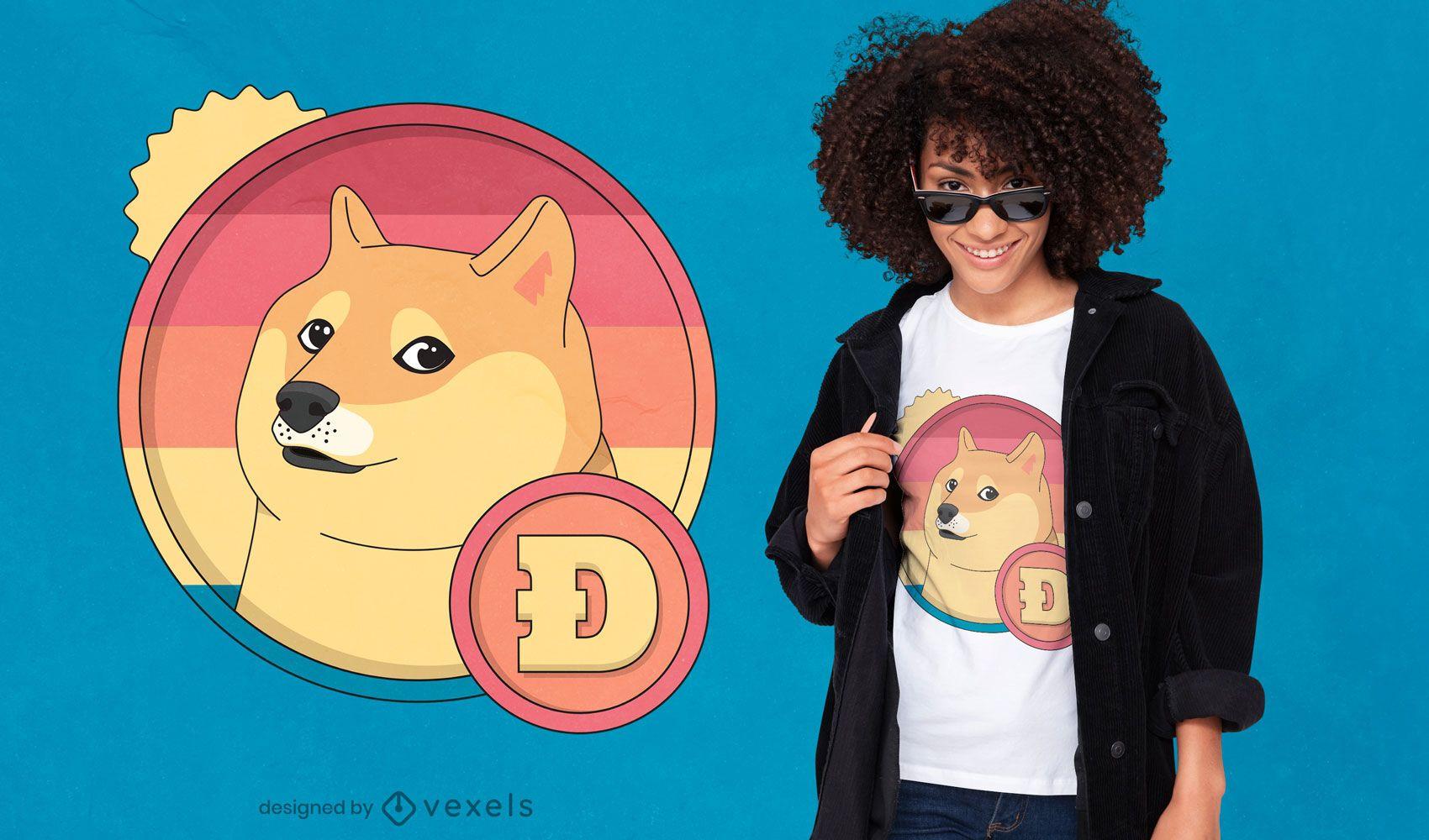 Diseño de camiseta retro dogecoin