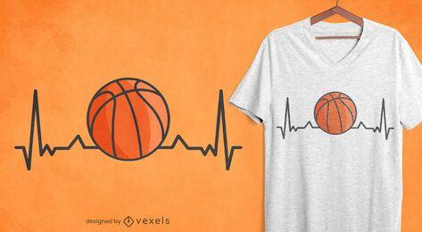 Design de camiseta com batimento cardíaco de basquete