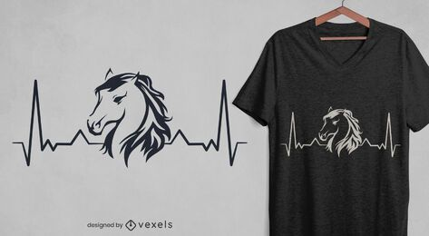 Design de t-shirt Heartbeat Horse