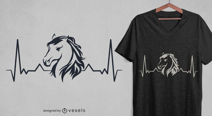 Design de t-shirt Heartbeat Horse