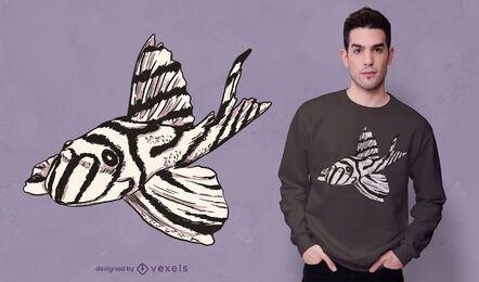 Diseño de camiseta de pez cebra pleco