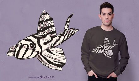 Zebra pleco fish t-shirt design