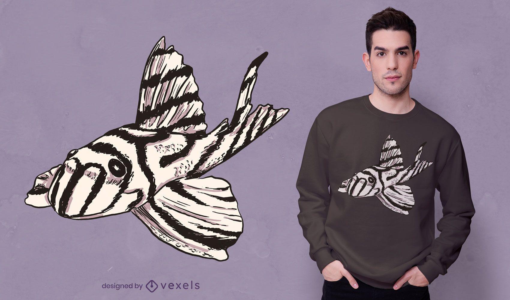 Zebra pleco fish t-shirt design