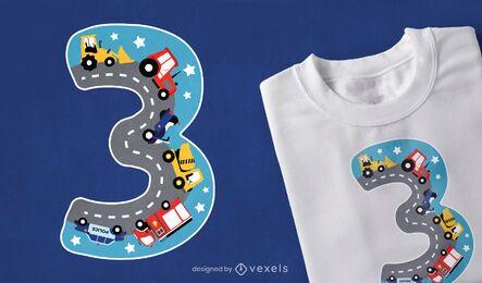 Diseño de camiseta número tres