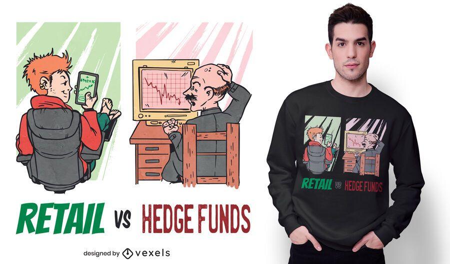 T-Shirt-Design von Einzelhandel gegen Hedgefonds