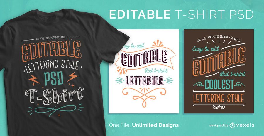 Vintage lettering scalable t-shirt psd