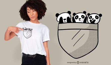 Diseño de camiseta con bolsillo de panda