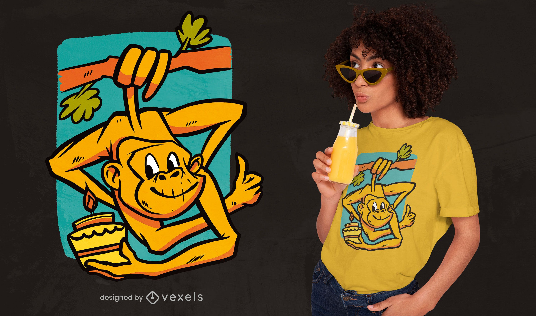 Birthday monkey t-shirt design