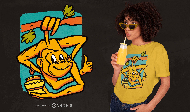 Diseño de camiseta de mono de cumpleaños.