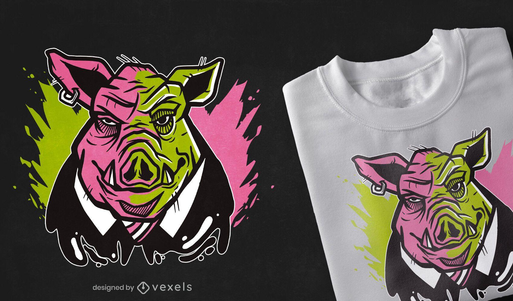 Design de camiseta com ilustração de porco mau