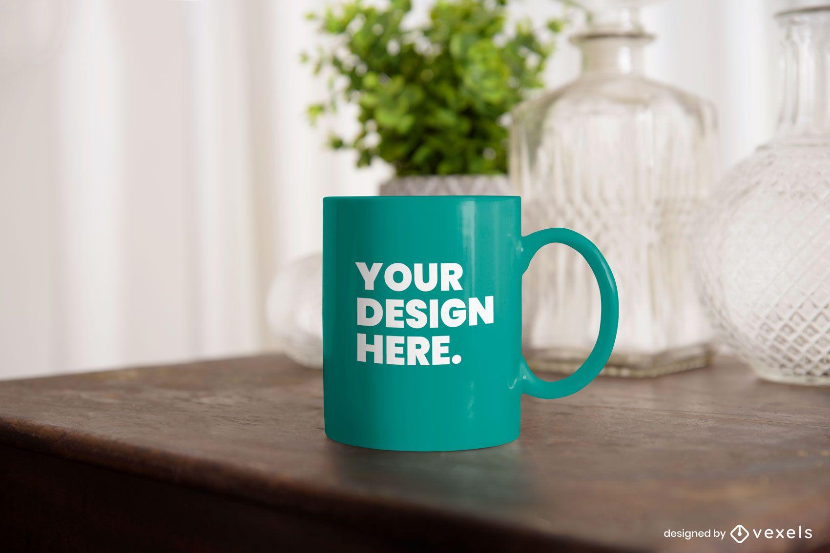 Mug table mockup psd design