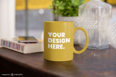 Mug table mockup composition