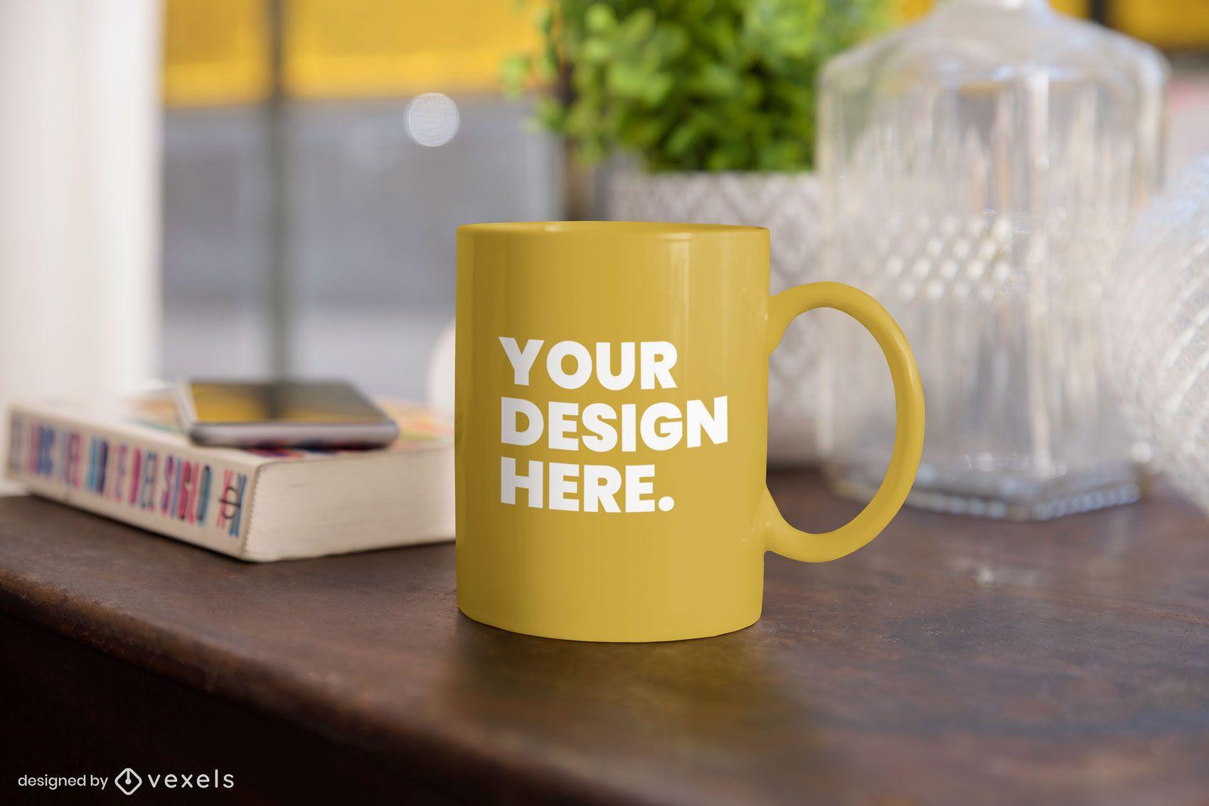 Mug table mockup composition