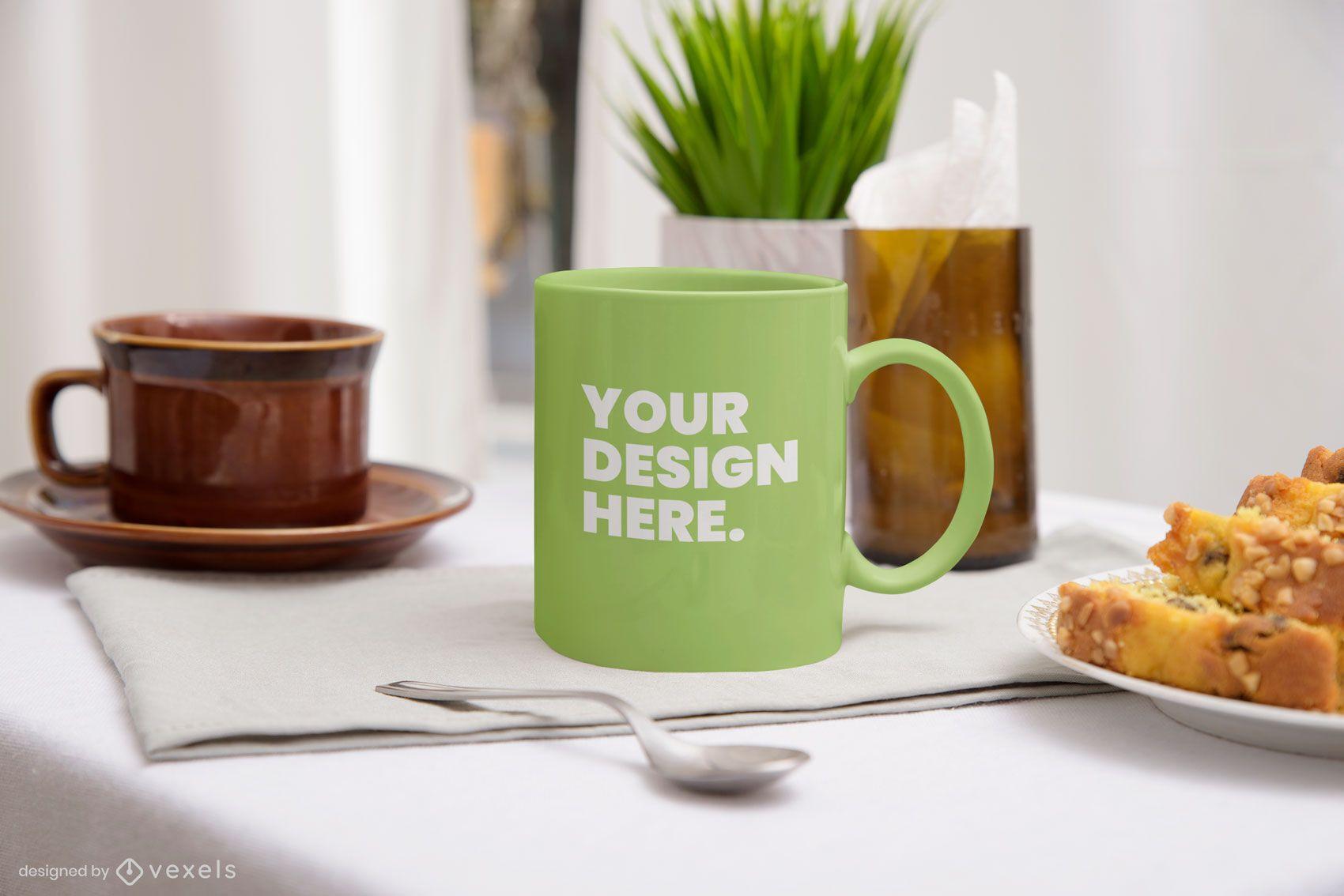 Breakfast mug mockup composition