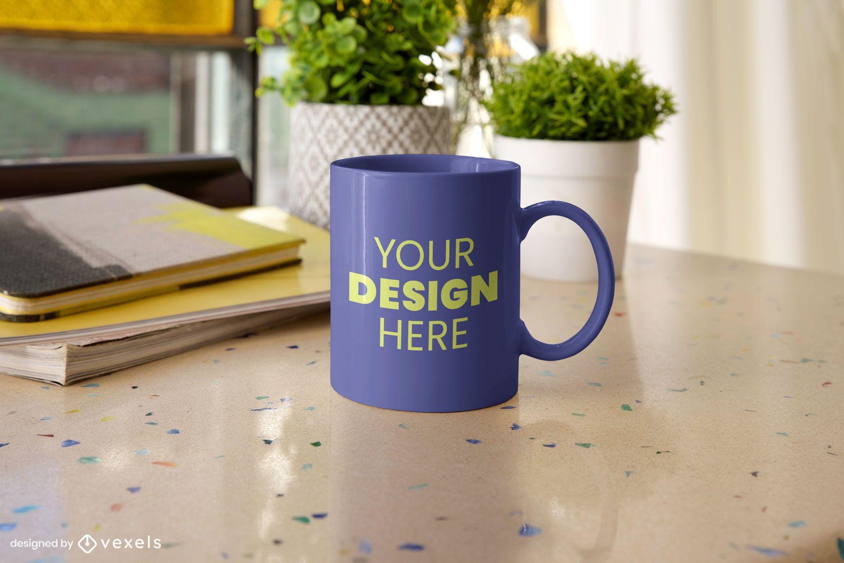 Table mug mockup composition