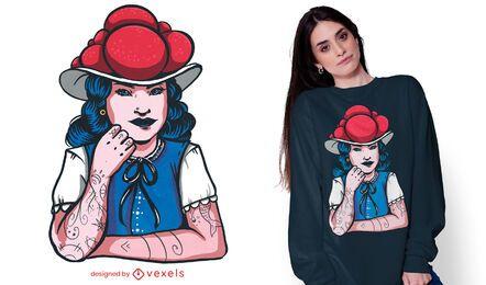 Diseño de camiseta de niña de la selva negra.