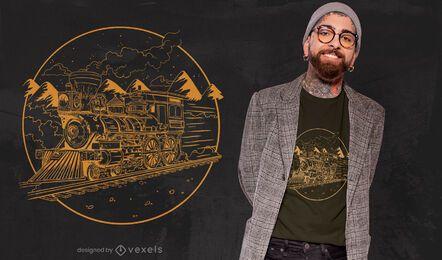 Handgezeichnetes T-Shirt-Design des Dampfzuges