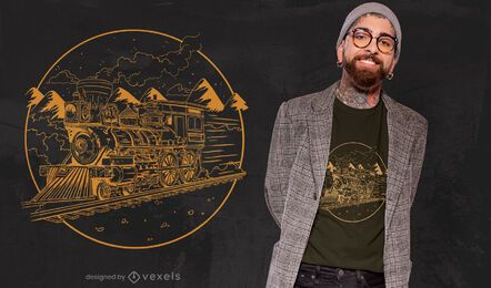 Steam train hand-drawn t-shirt design