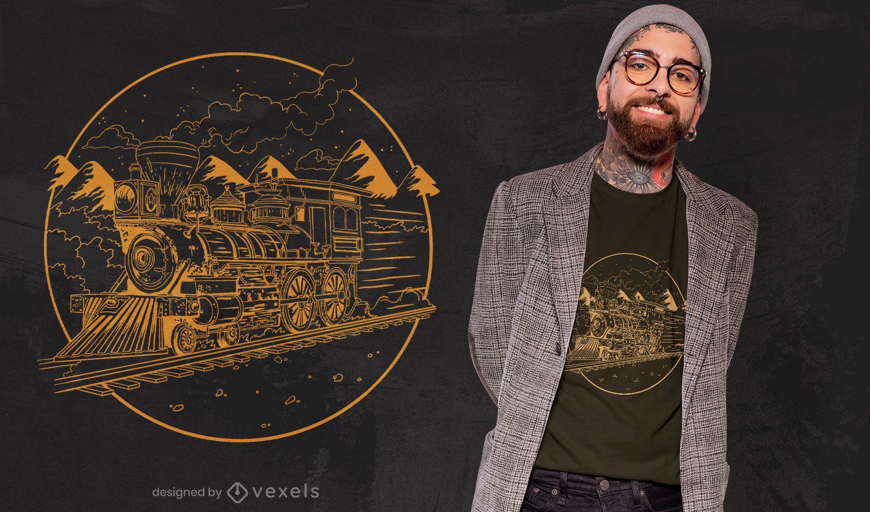 Diseño de camiseta dibujada a mano de tren de vapor.