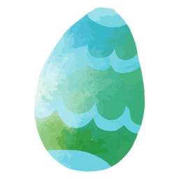 Blue-green watercolor easter egg