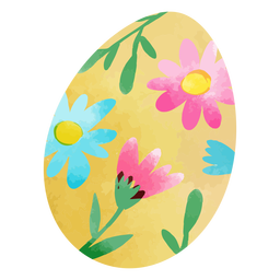 Watercolor flowers easter egg