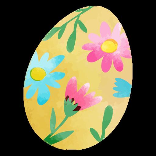 Watercolor flowers easter egg
