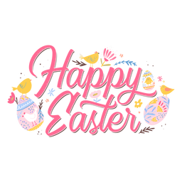 Happy easter pink lettering