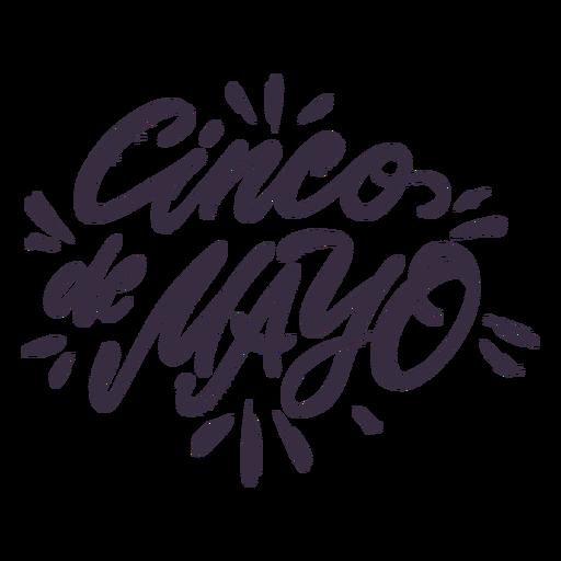 Letras dibujadas a mano del cinco de mayo