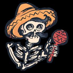 Doodle de esqueleto del cinco de mayo