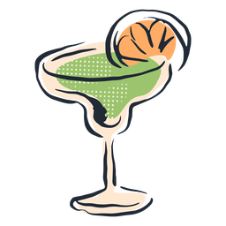 Green cocktail doodle