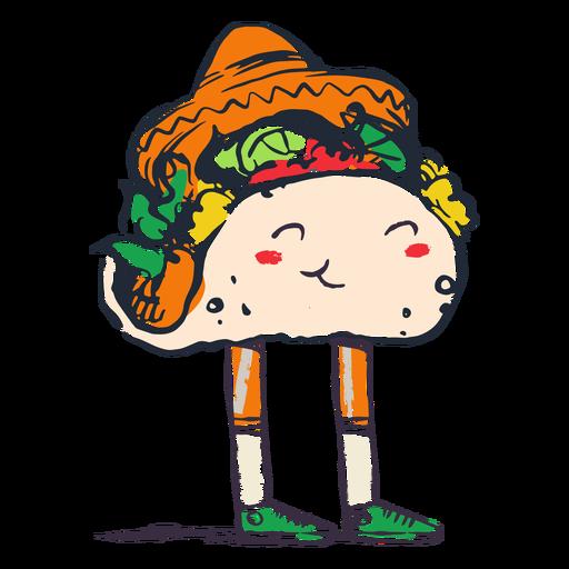 Doodle de taco mexicano feliz