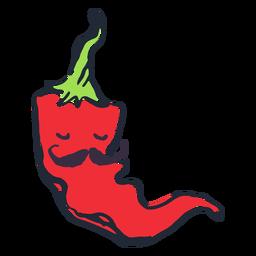 Chili pepper moustache doodle