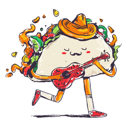 Taco tocando la guitarra doodle
