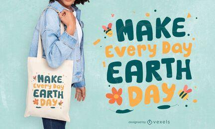 Tägliches Einkaufstaschendesign des Tages der Erde