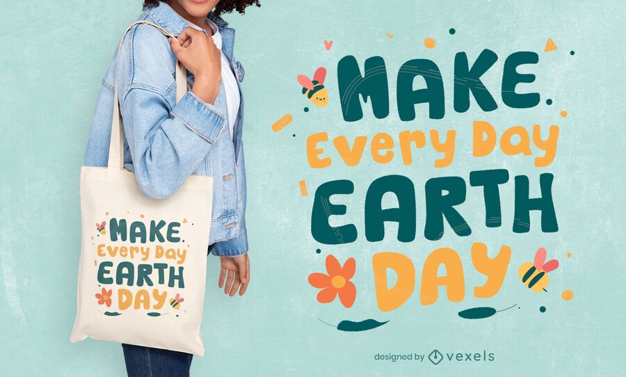Earth day everyday tote bag design