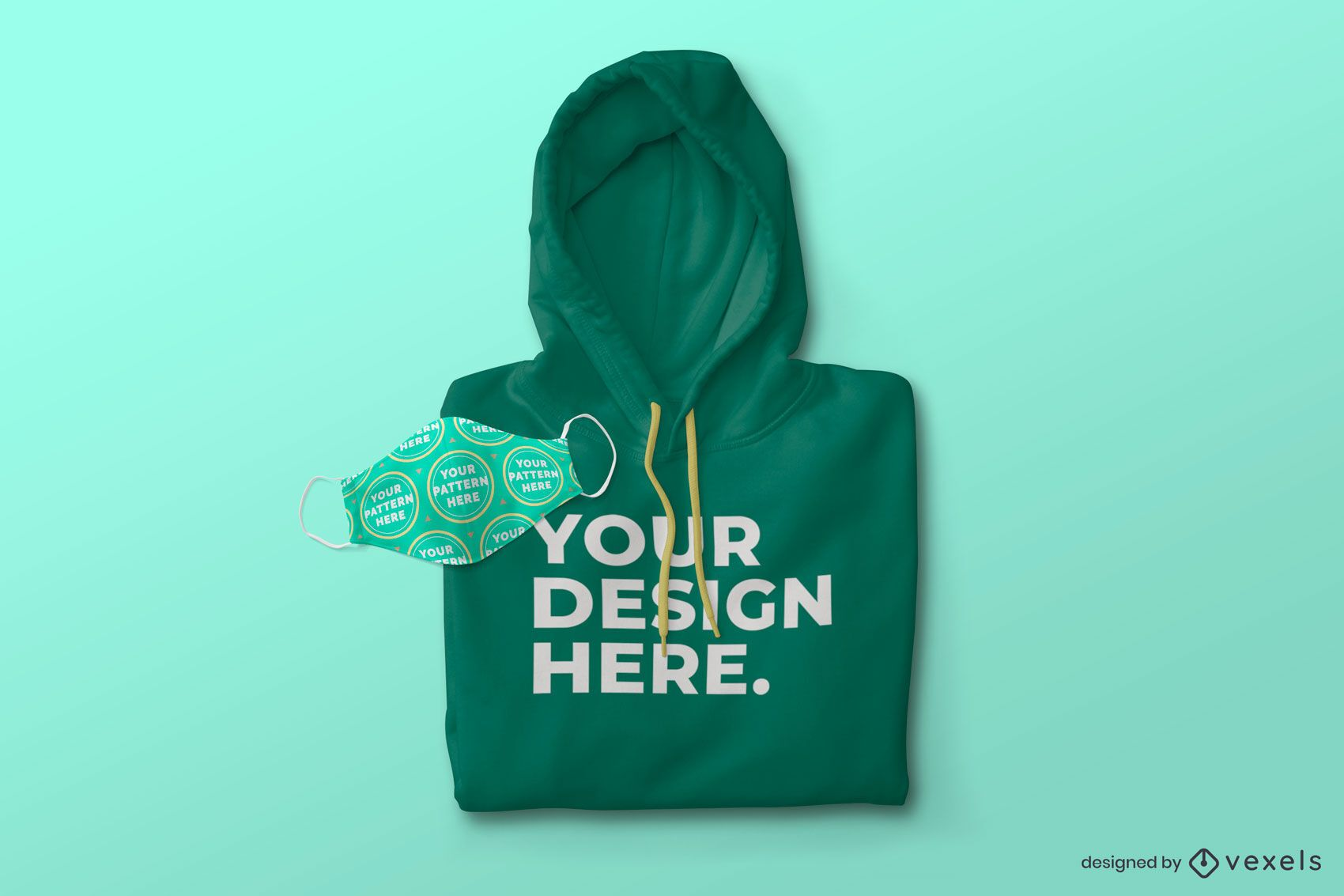 Face mask and hoodie mockup composition