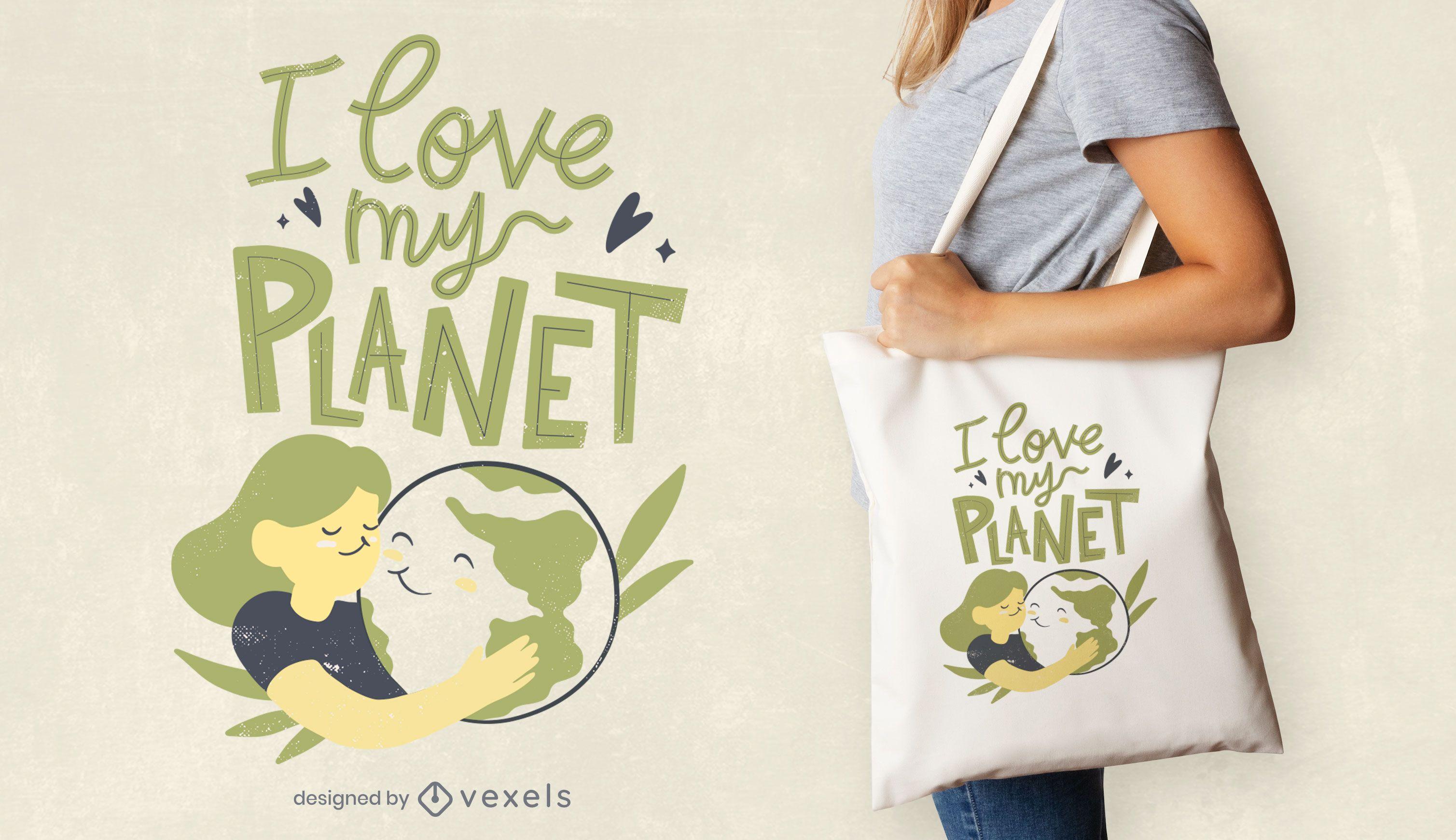 Love my planet tote bag design