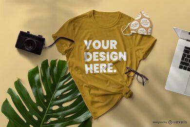 Composição de maquete de camiseta e máscara facial