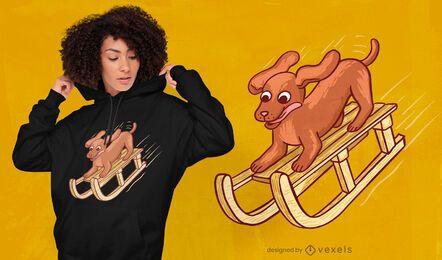 Dog on sleigh t-shirt design