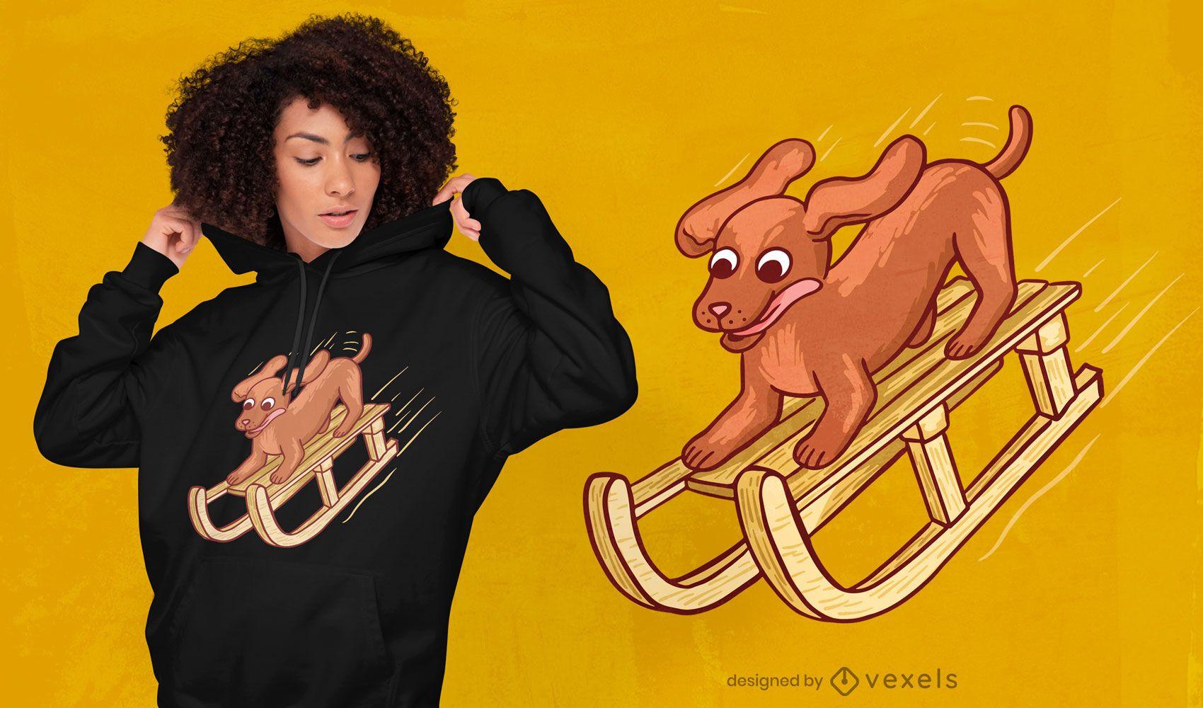 Hund auf Schlitten T-Shirt Design