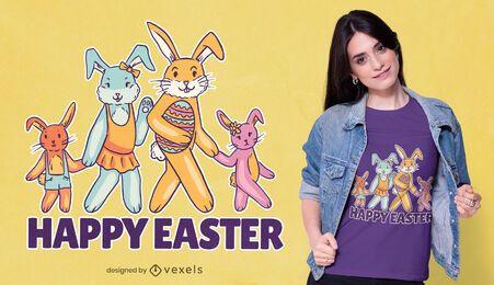 Desenho de t-shirt da família do coelhinho da Páscoa feliz