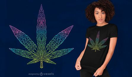 Tribal cannabis leaf t-shirt design