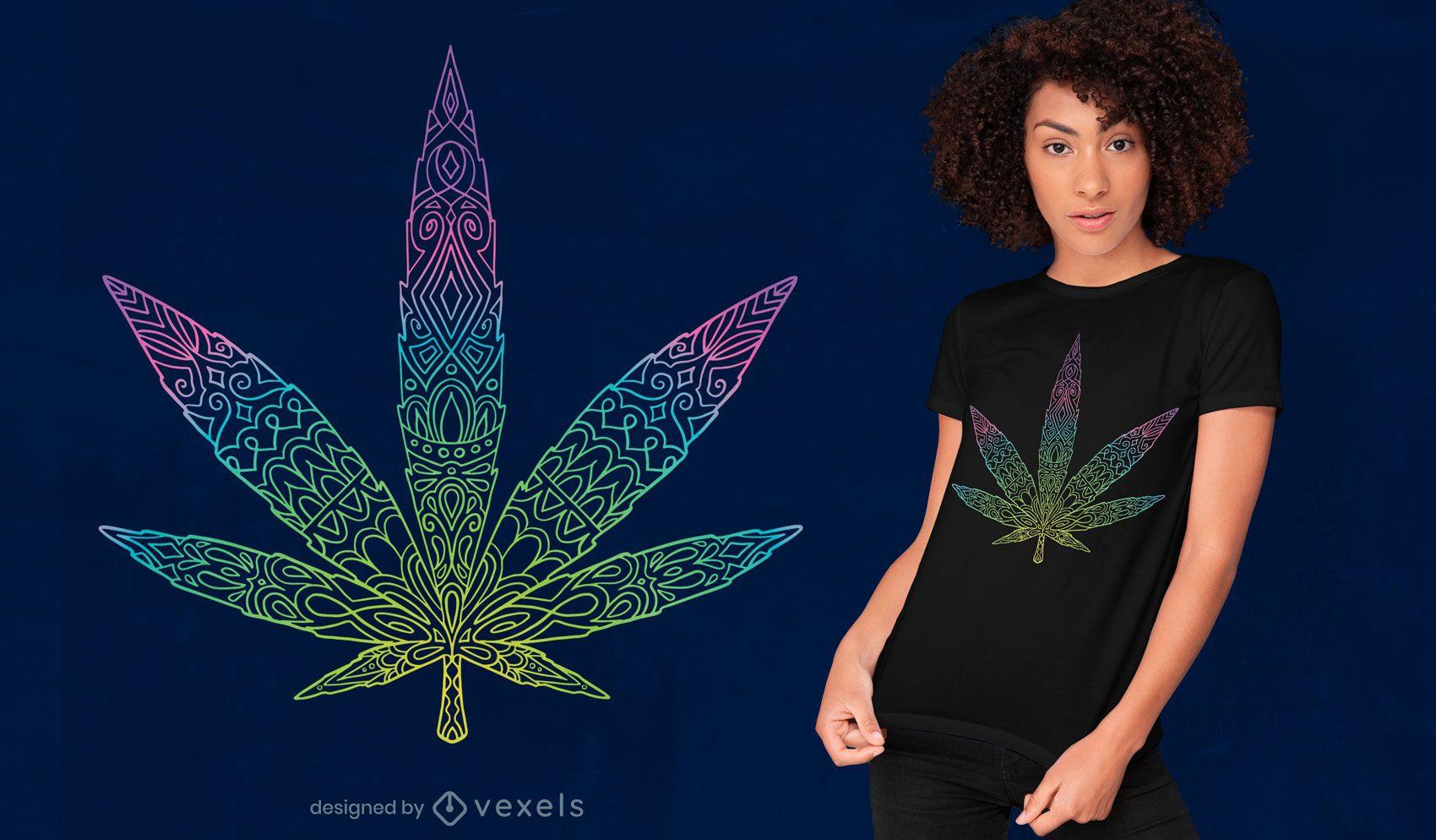 Design tribal de t-shirt com folha de cannabis