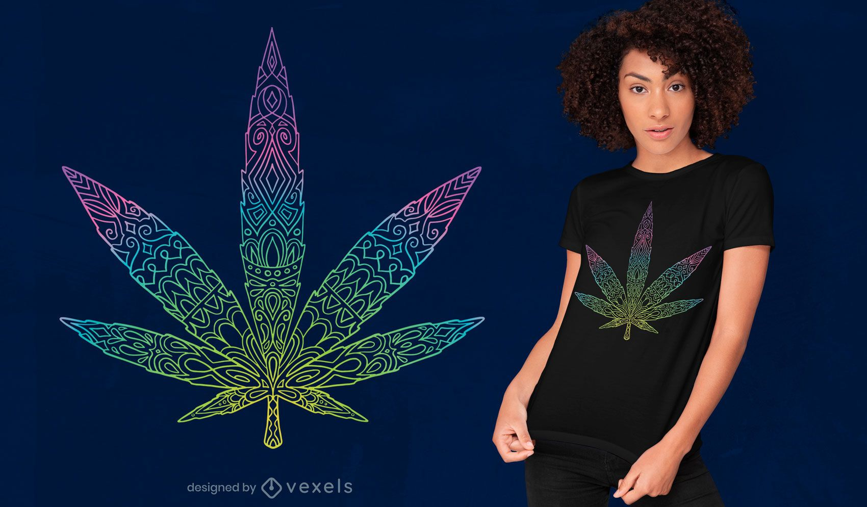 Tribal cannabis leaf t-shirt design