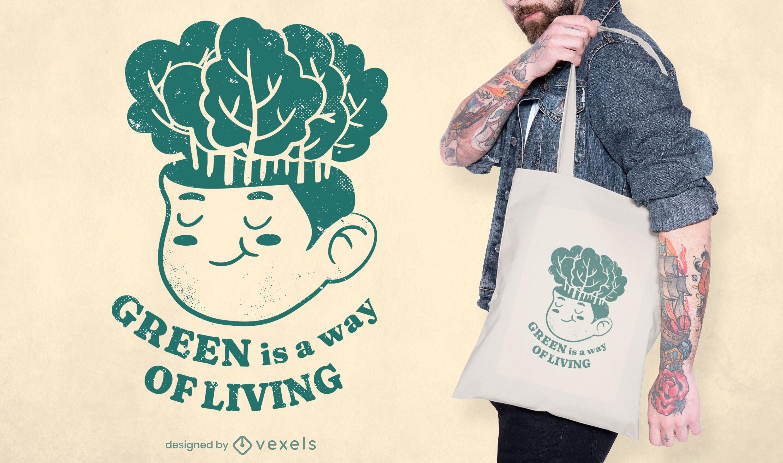 Green living tote bag design