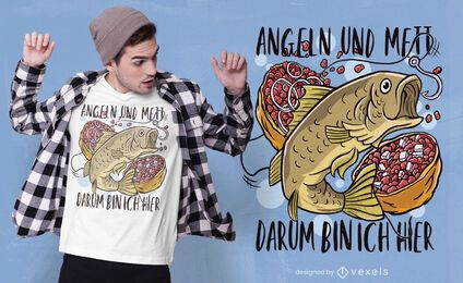 Fishing and mett t-shirt design